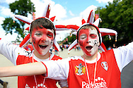 young Rotherham United fans before k.o Skybet football league one play off final match , Leyton Orient  v Rotherham Utd at Wembley Stadium in  London on Sunday 25th May 2014.<br /> pic by John Patrick Fletcher, Andrew Orchard sports photography.