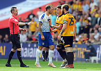 Football - 2018 / 2019 EFL Sky Bet League Two Play-Off Final - Newport County vs. Tranmere Rovers<br /> <br /> Mark O'Brien of Newport receives the red card from referee, Ross Joyce after a foul on James Norwood (centre), at Wembley Stadium.<br /> <br /> COLORSPORT/ANDREW COWIE