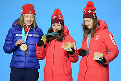 February 17, 2018 - Pyeongchang, South Korea - MATHILDE GREMAUD of Switzerland (right) , SARAH HOEFFLIN of Switzerland (center) and ISABEL ATKIN of Great Britain with their medals from the Ladies' Slopestyle freestyle skiing event in the PyeongChang Olympic Games. (Credit Image: © Christopher Levy via ZUMA Wire)
