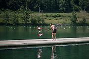 Lucerne, SWITZERLAND, 12th July 2018, Thursday, Canadian, Double Scull, placing the Oars, Blades on the pontoon. General View, FISA World Cup III, Lake Rotsee, © Peter SPURRIER,