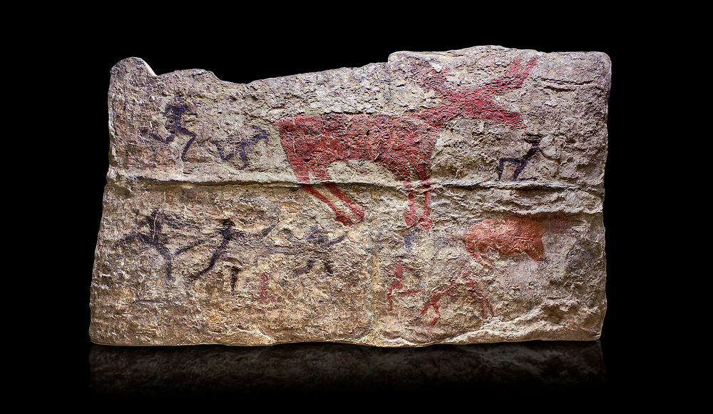 Fresco of human figures around a deer. None of the figures carry weapons and some a dressed in leopard costumes. The figures seem to be trying to hold on or touch the deer amd one figure appears to be holding its tongue. 6000 BC, Catalhoyuk Collections. Museum of Anatolian Civilisations, Ankara. Against a black background .<br /> <br /> If you prefer you can also buy from our ALAMY PHOTO LIBRARY  Collection visit : https://www.alamy.com/portfolio/paul-williams-funkystock/prehistoric-neolithic-art.html - Type Catalhoyuk into the LOWER SEARCH WITHIN GALLERY box. Refine search by adding background colour, place, museum etc.<br /> <br /> Visit our PREHISTORIC PLACES PHOTO COLLECTIONS for more  photos to download or buy as prints https://funkystock.photoshelter.com/gallery-collection/Prehistoric-Neolithic-Sites-Art-Artefacts-Pictures-Photos/C0000tfxw63zrUT4