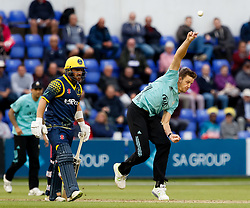 Surrey's Morne Morkel in action today <br /> <br /> Photographer Simon King/Replay Images<br /> <br /> Vitality Blast T20 - Round 14 - Glamorgan v Surrey - Friday 17th August 2018 - Sophia Gardens - Cardiff<br /> <br /> World Copyright © Replay Images . All rights reserved. info@replayimages.co.uk - http://replayimages.co.uk