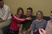 The hon Virginia Fraser, `henry franklin and Caroline Cornwall-Legh, . ( in black ) NSPCC Berkeley Dress Show,  Savoy. 9 april 2001. © Copyright Photograph by Dafydd Jones 66 Stockwell Park Rd. London SW9 0DA Tel 020 7733 0108 www.dafjones.com