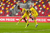 Football - 2020 / 2021 Sky Bet (EFL) Championship - Brentford vs. Wycombe Wanderers  - Brentford Community Stadium<br /> <br /> Ivan Toney (Brentford  FC) misjudges the flight of the ball and the ball gets caught under his arm as he pressures the Wycombe defence <br /> <br /> COLORSPORT/DANIEL BEARHAM