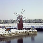 Windmill Waterways in the Snow, Gt yarmouth, Norfolk