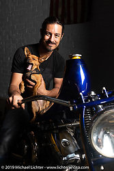 Custom builder Lock Baker with his dog Bingo on his Daddy Go Hard bike in his Los Angeles shop. CA, USA. Thursday, June 21, 2018. Photography ©2018 Michael Lichter.