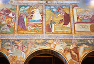 Early Renaissance frescoes by Vitale da Bologna (1309 — 1369) of Christ Pantocrator (in majesty), pinted in the Byzantine style of Christ appearing in a madorla or eye. Church of Santa Maria, Benedictine Abbey of Pomposa, Emilia-Romagna, Italy. .<br /> <br /> Visit our ITALY HISTORIC PLACES PHOTO COLLECTION for more   photos of Italy to download or buy as prints https://funkystock.photoshelter.com/gallery-collection/2b-Pictures-Images-of-Italy-Photos-of-Italian-Historic-Landmark-Sites/C0000qxA2zGFjd_k<br /> .<br /> <br /> Visit our MEDIEVAL PHOTO COLLECTIONS for more   photos  to download or buy as prints https://funkystock.photoshelter.com/gallery-collection/Medieval-Middle-Ages-Historic-Places-Arcaeological-Sites-Pictures-Images-of/C0000B5ZA54_WD0s