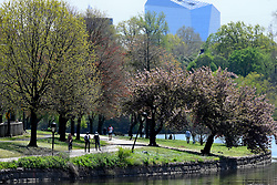 Cyclist and pedestrians are seen on the Schuylkill River Trail along Kelly Drive and the Schuylkill River in Philadelphia, PA, on April 28, 2020. Despite the state-wide stay-at-home order still in effect, spring weather draws hundreds to exercise outdoors.