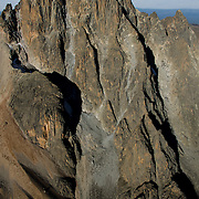 Aerial view of the East Face of Mount Kenya, the second highest peak in Africa. Visible in center right is the North Face Standard Route leading to the summit of Batian.