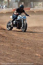 Revival Cycles' Stefan Hertel riding a BMW R noneT in the Saturday Run-What-You-Brung flat track racing at the Handbuilt Motorcycle Show. Austin, TX, USA. April 9, 2016.  Photography ©2016 Michael Lichter.