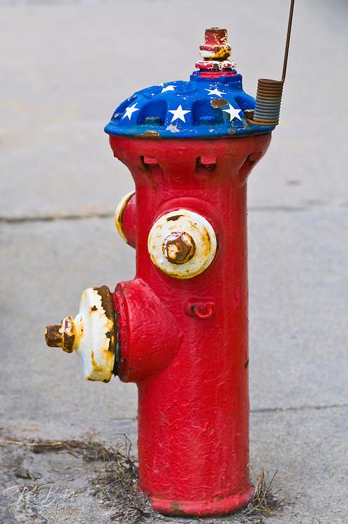 Patriotic fire hydrant on Main Street, Hopkinton, Massachusetts