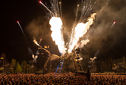 May 5, 2018 - London, London, UK - London, UK.  Artists perform during the Arcadia 10th Anniversary Metamorphosis festival show at the Queen Elizabeth Park. The 50 tonne Arcadia Spider is built from repurposed military hardware and is one of the world's most iconic festival stages, having started at Glastonbury Festival. (Credit Image: © Vickie Flores/London News Pictures via ZUMA Wire)