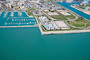 Aerial view of Kenosha, Wisconsin on a sunny April day.