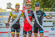 Jean Pierre Drucker (Lux - BMC Racing - pictured in Red) wins The London-Surrey Classic professional race.Here he is with 2nd placed Mike Teunissen (Ned, Lotto NL-Jumbo) and 3rd placed Ben Swift (GBR - Team Sky).  Prudential RideLondon a festival of cycling, with more than 95,000 cyclists, including some of the world's top professionals, participating in five separate events over the weekend of 1-2 August.