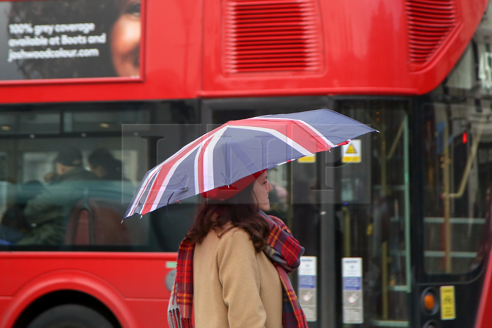 © Licensed to London News Pictures. 8/112/2018. London, UK. A woman with Union Jack umbrella during rain and wet weather in Trafalgar Square. Photo credit: Dinendra Haria/LNP