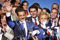 File photo - Nicolas Sarkozy with Bernadette Chirac at the tribune after delivering a speech during his last campaign meeting on May 3rd, 2007 in Montpellier, France. Former French President Nicolas Sarkozy was in police custody on Tuesday morning March 20, 2018, an official in the country's judiciary said. He was to be questioned as part of an investigation into suspected irregularities over his election campaign financing, the same source added. The probe related to alleged Libyan funding for Sarkozy's 2007 campaign, Le Monde newspaper reported. Photo by ABACAPRESS.COM