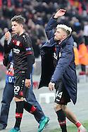 Bayer Leverkusen midfielder Kevin Kampl (44) celebrating with fans after win during the Champions League match between Tottenham Hotspur and Bayer Leverkusen at Wembley Stadium, London, England on 2 November 2016. Photo by Matthew Redman.