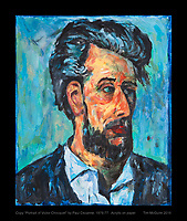 """Copy """"Portrait of Victor Chocquet"""" by Paul Cezanne, 1876-77.  Acrylic on paper.   Tim McGuire 2016"""