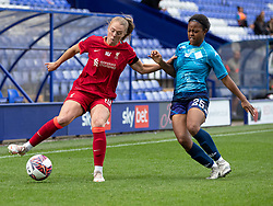 BIRKENHEAD, ENGLAND - Sunday, August 29, 2021: Liverpool's Ceri Holland (L) and London City Lionesses' Kenni Thompson during the FA Women's Championship game between Liverpool FC Women and London City Lionesses FC at Prenton Park. London City won 1-0. (Pic by Paul Currie/Propaganda)