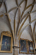 The vaulted ceiling of Vladislav Hall in Hradcany-Prazsky Hrad (Prague Castle), on 18th March, 2018, in Prague, the Czech Republic. Vladislav Hall is a large room within the Prague Castle complex in the Czech Republic, used for large public events of the Bohemian monarchy and the modern Czech state. Built between 1493–1502 by Benedikt Rejt during the reign of Vladislav II, the hall was the largest secular space (62m x 16m x 13m) in medieval Prague and belongs to the most complex structural and architectural spaces of the late Middle Ages.