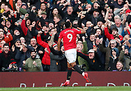 Anthony Martial of Manchester United celebrates scoring the first goal during the Premier League match at Old Trafford, Manchester. Picture date: 8th March 2020. Picture credit should read: Darren Staples/Sportimage