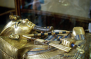 Gold sarcophagus of King Tutankamen. Ancient Egyptian Pharaoh.