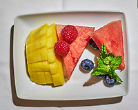 Fruit Salad Dessert. Image taken with a Fuji X-T3 camera and 35 mm f/1.4 lens (ISO 500, 35 mm, f/2.2, 1/50 sec).