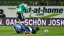 22.03.2014, Keine Sorgen Arena, Ried im Innkreis, AUT, 1. FBL, SV Josko Ried vs SV Scholz Groedig, 28. Runde, im Bild Dieter Elsneg, (SV Scholz Groedig, #10), Toni Vastic, (SV Josko Ried, #17) und Thomas Gebauer, (SV Josko Ried, #1)// during Austrian Football Bundesliga Match, 28th round, between SV Josko Ried and SV Scholz Groedig at the Keine Sorgen Arena, Ried im Innkreis, Austria on 2014/03/22. EXPA Pictures © 2014, PhotoCredit: EXPA/ Roland Hackl