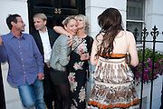 JO WOOD; ANNA ABRAMOVICH; .  Private view and Summer party for Scream Now. An exhibitio of new work by gallery artists. Bruce French,, Derrick Santini, Greg Miller, Malgosia Stepnik, Pakpoom Silaphan, Petroc Sesti, Russell Young. Scream. Bruton st. London. 4 August 2011. <br /> <br />  , -DO NOT ARCHIVE-© Copyright Photograph by Dafydd Jones. 248 Clapham Rd. London SW9 0PZ. Tel 0207 820 0771. www.dafjones.com.
