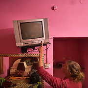 Woman in a pink room, wearing pink, checks the TV.