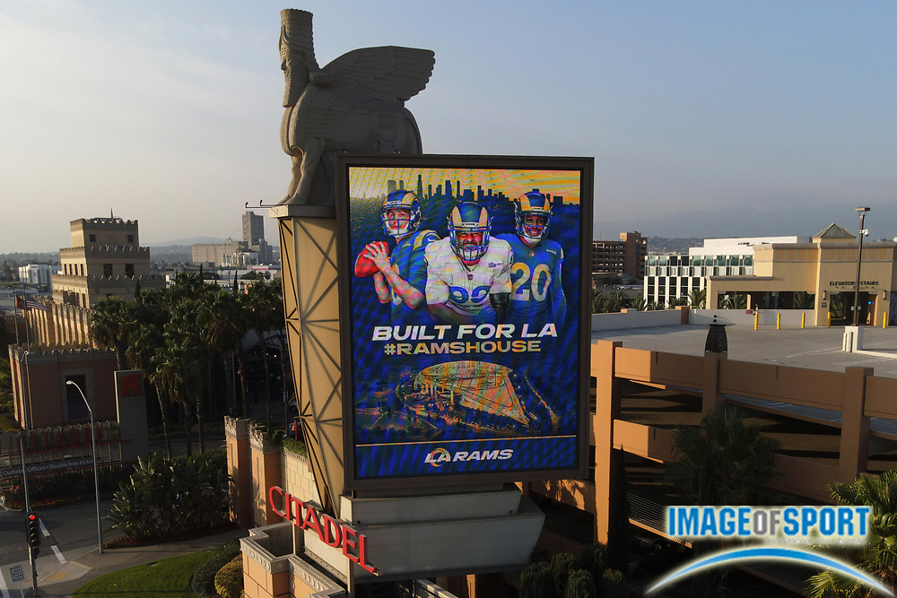 A general view of a Los Angeles Rams advertisement featuring images of quarterback Jared Goff (16), defensive end Aaron Donald (99) and safety Jalen Ramsey (20) at the Citadel Outlets, Thursday, Sept. 17, 2020, in Los Angeles.