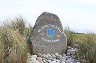 Engraved Stone at the 1st tee during Round 3 of The West of Ireland Open Championship in Co. Sligo Golf Club, Rosses Point, Sligo on Saturday 6th April 2019.<br /> Picture:  Thos Caffrey / www.golffile.ie
