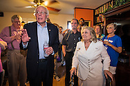 July, 26, 2015, Metairie LA,  Bernie Sanders next to Gilda Reed at a gathering held for Democratic Party supporters. Gilda Reed, a former Democratic candidate for congress candidate hosted about 90 people at her home in Metairie LA before Sanders townhall meeting in Kenner.