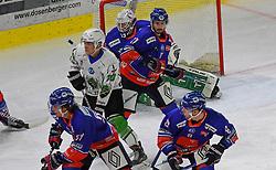 17.09.2021, Tiroler Wasserkraft Arena, Innsbruck, AUT, ICE, HC TWK Innsbruck Die Haie vs HK SZ Olimpija, Grunddurchgang, 1. Runde, im Bild Tom McCollum (HC TIWAG Innsbruck), Daniel Jakubitzka (HC TIWAG Innsbruck), Jaka Judge (HK SZ Olimpija Ljubljana) // during the bet-at-home ICE Hockey League Basic round 1th round match between HC TWK Innsbruck Die Haie and HK SZ Olimpija at the Tiroler Wasserkraft Arena in Innsbruck, Austria on 2021/09/17. EXPA Pictures © 2021, PhotoCredit: EXPA/ Erich Spiess