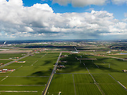 Nederland, Noord-Holland, Gemeente Schermer, 16-04-2012; Polder K, onderdeel van De Schermer gezien langs de As van de Blokkerweg, naar Heerhugowaard. Vuilverbranding Alkmaar aan de horizon...Polder K (part of the polder Schermer) with regular land division. In the back the incineration process of the city of Alkmaar..luchtfoto (toeslag), aerial photo (additional fee required);.copyright foto/photo Siebe Swar