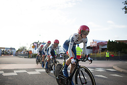 Nicole Hanselmann (SUI) of Cervélo-Bigla Cycling Team leads the team in the first meters of the Crescent Vargarda - a 42.5 km team time trial, starting and finishing in Vargarda on August 11, 2017, in Vastra Gotaland, Sweden. (Photo by Balint Hamvas/Velofocus.com)