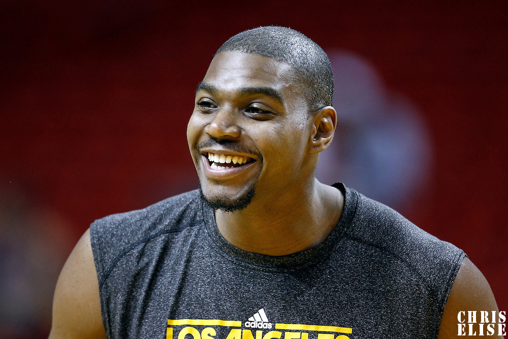 19 January 2012:  Los Angeles Lakers center Andrew Bynum (17) is seen prior to the Miami Heat 98-87 victory over the Los Angeles Lakers at the AmericanAirlines Arena, Miami, Florida, USA.