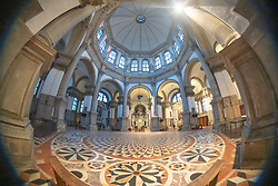 A fisheye view inside the Santa Maria della Salute basilica, commonly known simply as the Salute, in Venice. From a series of travel photos in Italy. Photo date: Monday, February 11, 2019. Photo credit should read: Richard Gray/EMPICS Entertainment