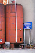 Embres et Castelmaure Cave Cooperative co-operative. Les Corbieres. Languedoc. Painted steel vats. France. Europe.