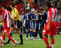 Photo: Maarten Straetemans.<br /> Ajax v Athletico Madrid. LG Amsterdam Tournament. 02/08/2007.<br /> Ajax celebrates the goal of Wesley Sneijder (2-0)