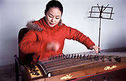 Zhang Lin, 23 at the Xiao Bai Hua Shaoxing Opera Troupe Co's HQ's,  plays with one of China's oldest and noblest musical instruments, the Zheng, similar to Japan's Koto, which she taught herself to play as a young girl.