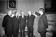 26/03/1966<br /> 03/26/1966<br /> 26 March 1966<br /> President receives Banna Strand Memorial Committee at Aras an Uachtarain. Officials of the combined committees of the Roger Casement Association, the Banna Strand Memorial Committee and the Limerick Roger Casement Association, met in Dublin and discussed with President Eamon de Valera about arrangements for the Roger Casement Commemoration Ceremonies to be held at Banna Strand, Co. Kerry, on Good Friday.<br /> Picture shows President de Valera chatting with the Committee Members (l-r): Dr Herbert Mackey, Dun Laoghaire, President, Dublin Roger Casement Association; Eamonn O Mathuna, Chairman National Executive, Banna Strand Memorial Committee; Mr Tadhg Smalle, P.C., Chairman, Limerick Roger Casement Association; Mrs Mary McInerney-Spillane, P.C., Assistant Treasurer, Limerick Roger Casement Association and  Sean S. O Conchubhair, Secretary/Treasurer, National Executive, Banna Strand Memorial Committee.