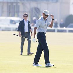 Former US president Barack Obama playing golf at St Andrews
