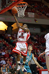"""18 November 2007: Keith """"Boo"""" Richardson lays one in. Illinois State Redbirds defeated the Seahawks of the University of North Carolina - Wilmington 89-73 on Doug Collins Court in Redbird Arena on the campus of Illinois State University in Normal Illinois."""