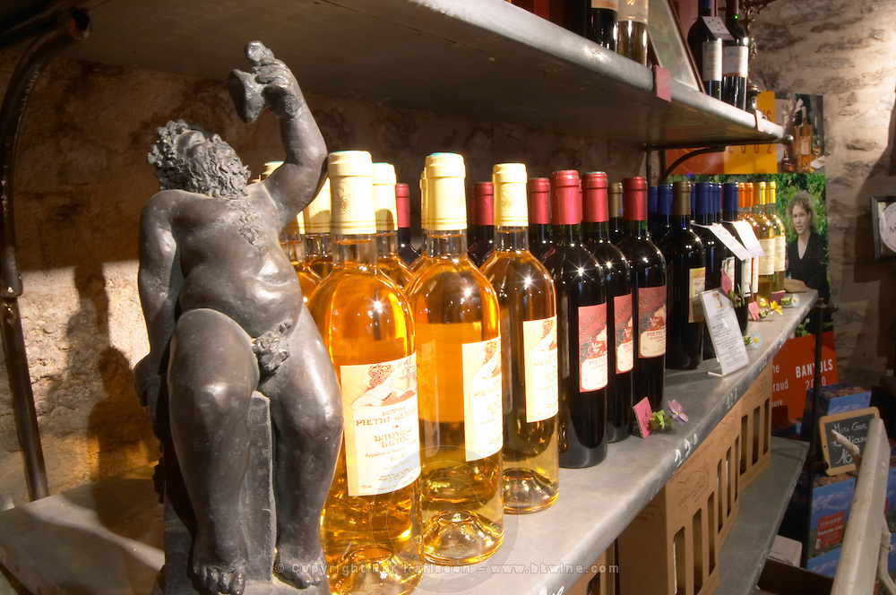 Bacchus. Domaine Pietri-Geraud Roussillon. The wine shop and tasting room. France. Europe. Bottle.