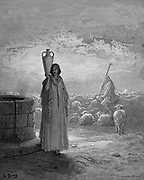 Jacob, keeping Laban's flocks, sees Rachel at the well. Genesis 29. From Gustave Dore's illustrated 'Bible' 1866. Wood engraving