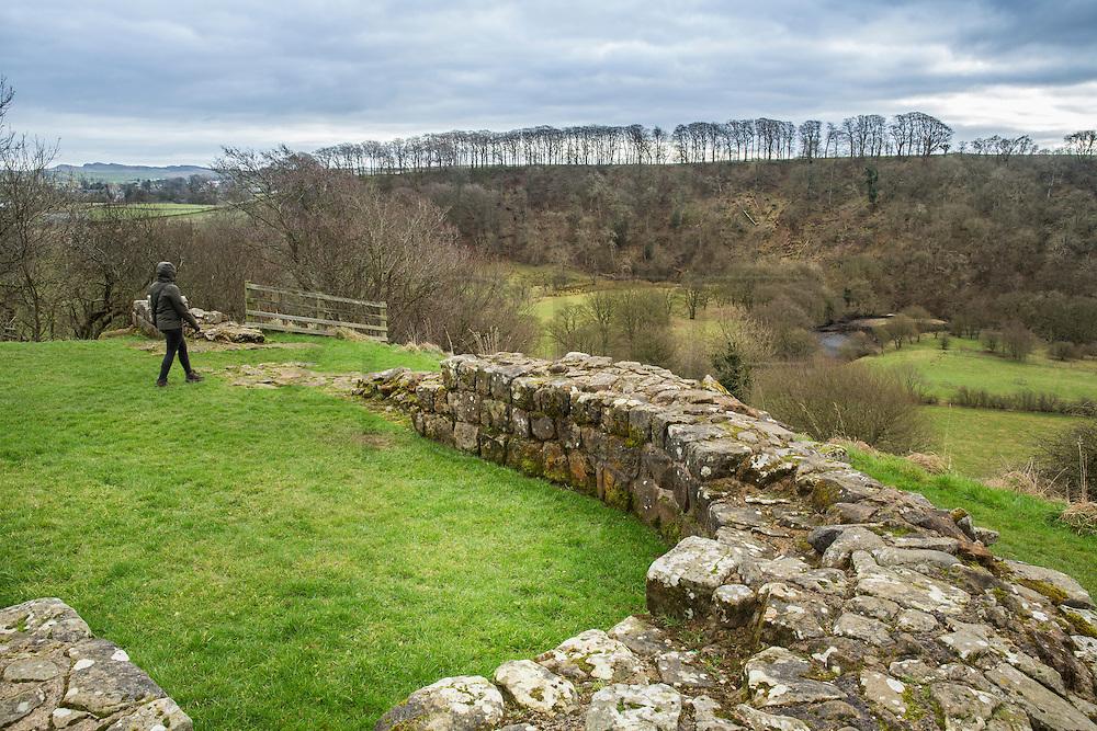 view of the Hadrian's wall near Brampton. Ruins of Harrows Scar Milecastle