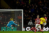 Etienne Capoue of Watford (29) scores his team's third goal. The Emirates FA Cup, 3rd round match, Watford v Bristol City  at Vicarage Road in Watford, London on Saturday 6th January 2018.<br /> pic by Steffan Bowen, Andrew Orchard sports photography.
