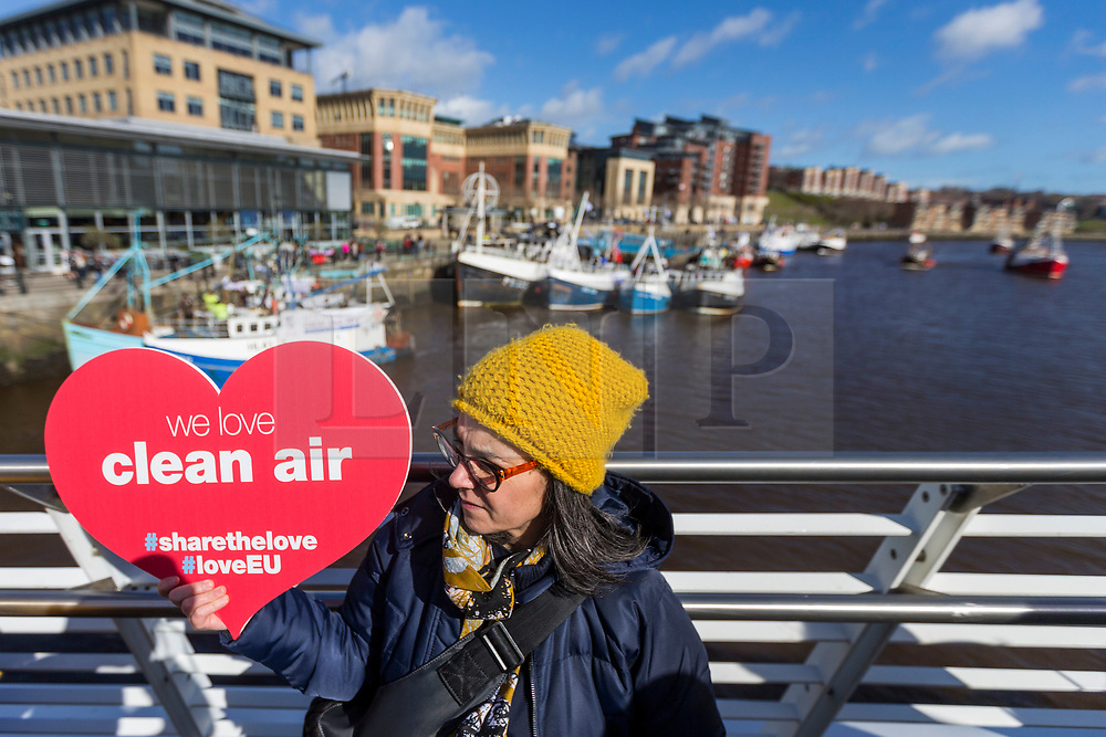© Licensed to London News Pictures. 15/03/2019. Newcastle UK. Over 20 fishing vessels from the Fishermen's organisation Fishing for Leave are heading up the river Tyne in Newcastle today in protest at the Prime Ministers withdrawal agreement & the possible halting of Brexit.  Photo credit: Andrew McCaren/LNP