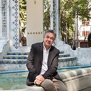 Mexico City, Mexico, February 3, 2018. Pedro Serrano, Mexican writer portrayed in Plaza Popocatépetl in Colonia Condesa. Mr Serrano is the Director of the Banff International Literary Translation Centre and the Editor of the Periódico de Poesía at UNAM (the Universidad Nacional Autónoma de México, where he also teaches).<br /> 
